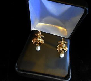 Fleur De Lis 18th Century Revival Gold And Pearl Earrings
